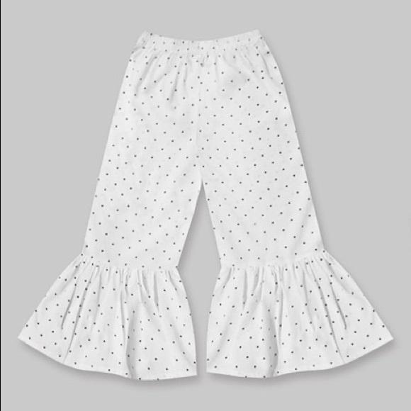 Girls White & Black Polka Dot Boho Ruffle Pants